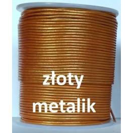 Rzemień 1,5 mm okrągły złoty metalik 100 cm