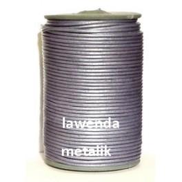 Rzemień 3 mm okrągły fiolet / lawenda metalik 100 cm