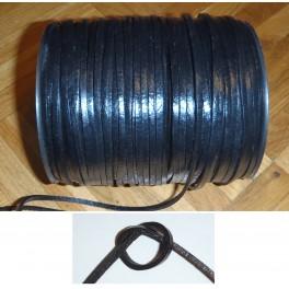 Rzemień rzemyk płaski skórzany czarny 3x1,2mm skóra