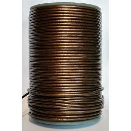 Rzemień skórzany 3mm okrągły brązowy metalik 100cm