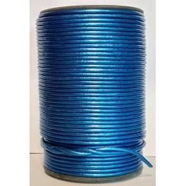 Rzemień 3 mm okrągły niebieski irys metalik 100 cm